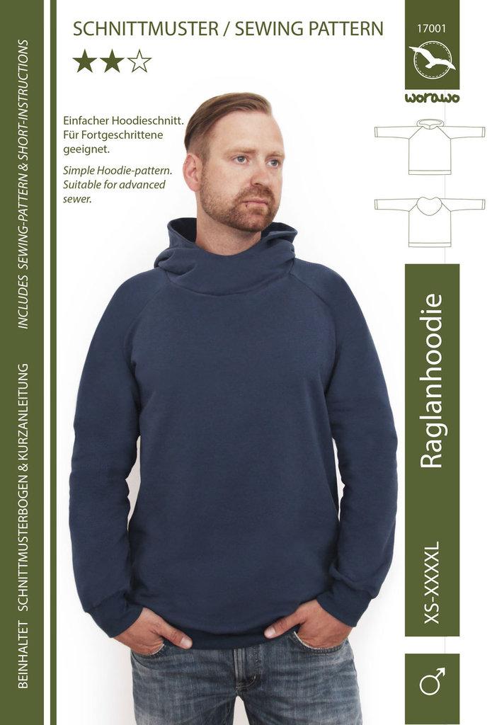 Raglan Hoodie Herren XS- 4XL (Papierschnitt)