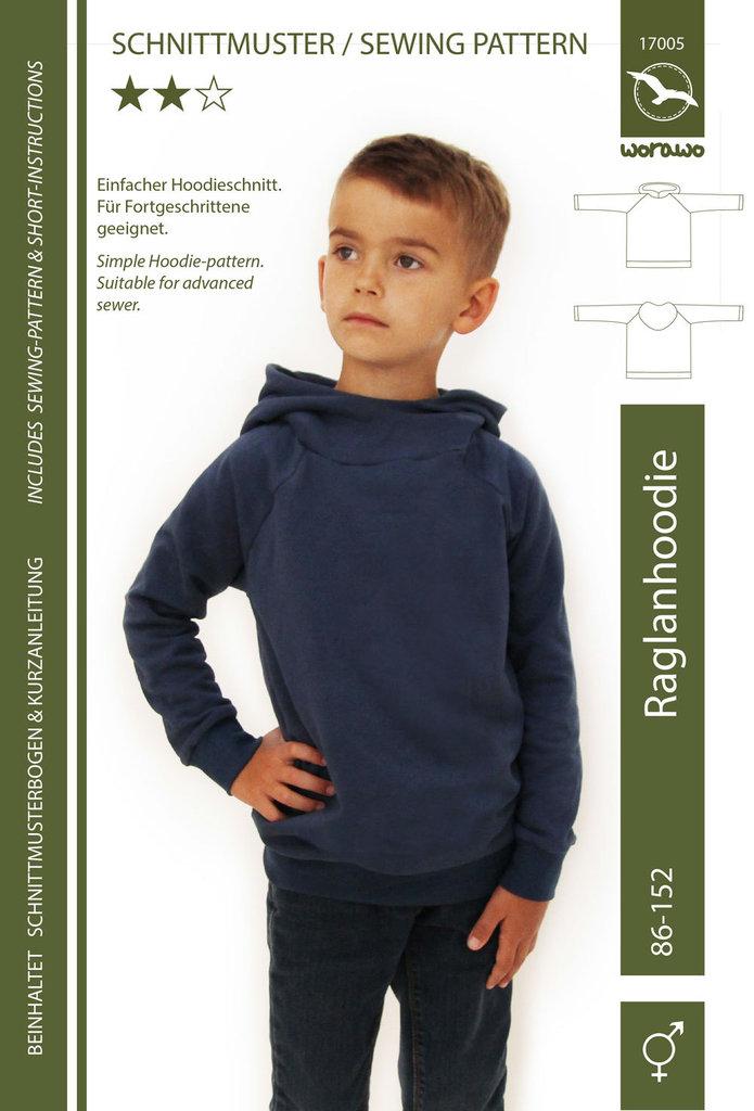 Raglan Hoodie Kinder 86 - 152 (Papierschnitt)