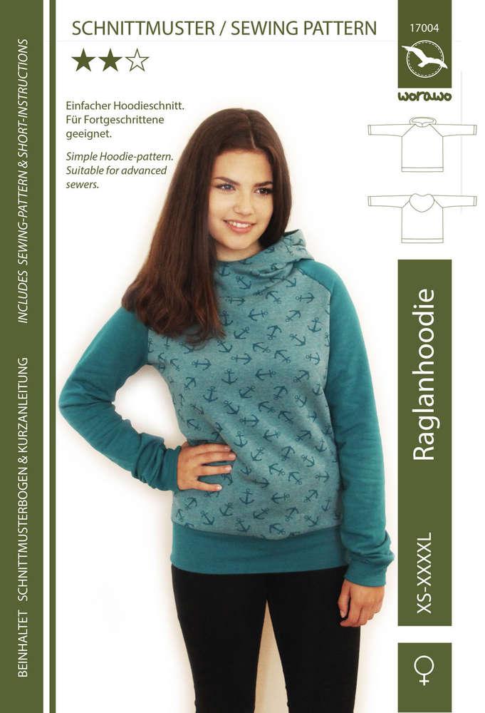 Raglan Hoodie Frauen XS-4XL (Papierschnitt)